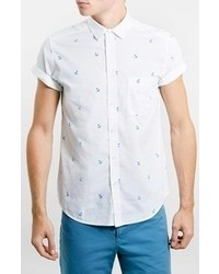 Topman Short Sleeve Anchor Print Shirt