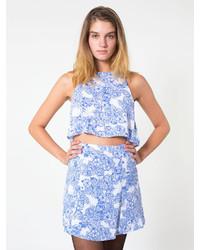 White and Blue Print Skater Skirt