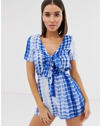 Missguided Tie Front Playsuit In Blue Tie Dye