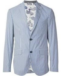 White and Blue Vertical Striped Blazer
