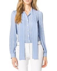 Michl kors striped silk tie neck blouse medium 38877