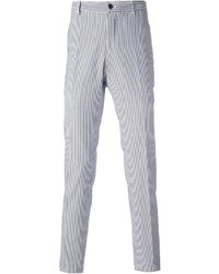 White and Blue Vertical Striped Dress Pants