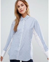 Oversized stripe shirt with contrast batwing sleeve medium 3710206