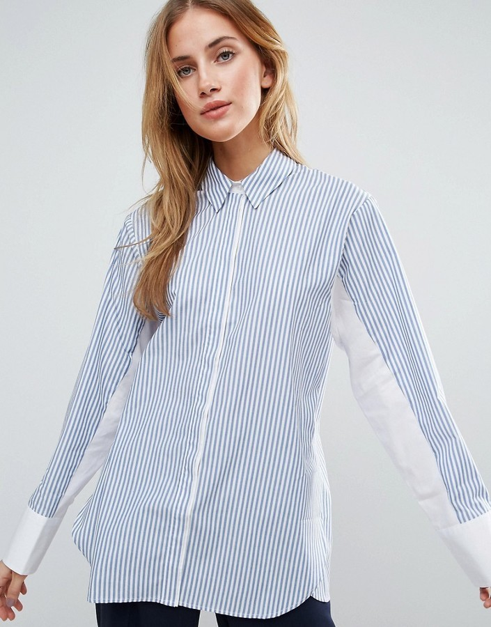 c09808d032 ... Dress Shirts Asos Oversized Stripe Shirt With Contrast Batwing Sleeve  ...
