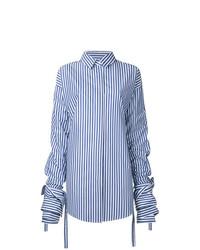 b07e2e65abb5 White and Blue Vertical Striped Dress Shirts for Women | Women's ...
