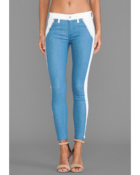 White and Blue Vertical Striped Skinny Jeans