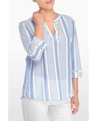 White and Blue Vertical Striped Tunic