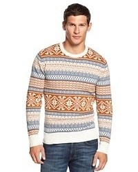 White and Brown Fair Isle Crew-neck Sweater