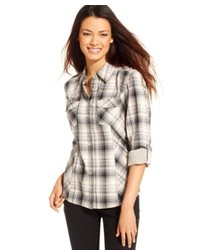 White and Brown Plaid Dress Shirt