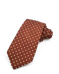 White and Brown Polka Dot Tie