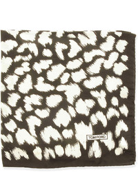 White and Brown Print Pocket Square