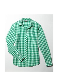 White and Green Gingham Dress Shirt