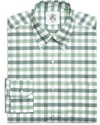 White and Green Gingham Long Sleeve Shirt