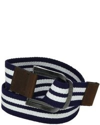 White and Navy Canvas Belt