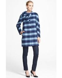 New york dorothy bow detail check coat medium 121529