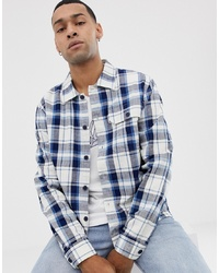 Penfield Spence Boxy Fit Overshirt In White With Blue Check