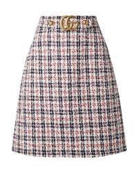White and Navy Check Midi Skirt