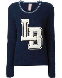 White and Navy Embroidered Crew-neck Sweater
