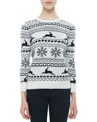 White and Navy Fair Isle Crew-neck Sweater