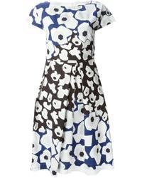 Jil Sander Navy Floral Print Dress
