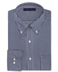 White and Navy Gingham Dress Shirt