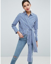 Gingham shirt with tie front medium 3650279