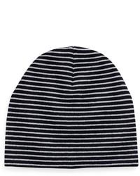 White and Navy Horizontal Striped Beanie
