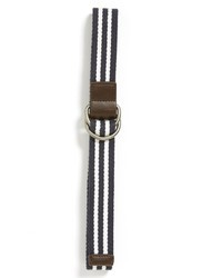 White and Navy Horizontal Striped Canvas Belt