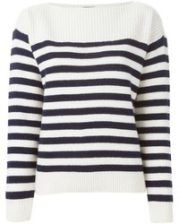 White and Navy Horizontal Striped Crew-neck Sweater