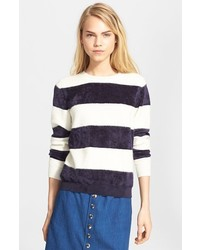 Fuzzy stripe sweater medium 326542