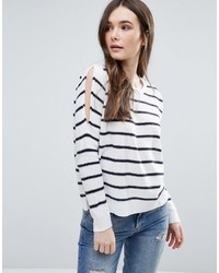 Brave Soul Stripe Cold Shoulder Sweater