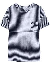 Frame Denim Le Boyfriend Striped Linen T Shirt
