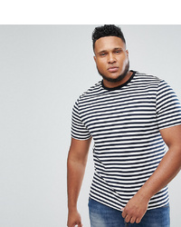 ASOS DESIGN Plus Stripe T Shirt In Navy And White