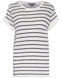Vince Striped Short Sleeved Cotton T Shirt