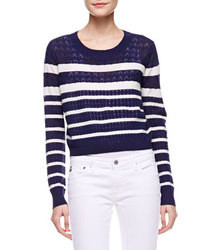 White and Navy Horizontal Striped Cropped Sweater