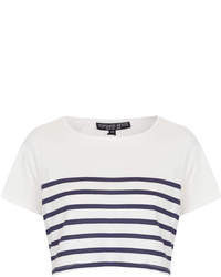 White and Navy Horizontal Striped Cropped Top
