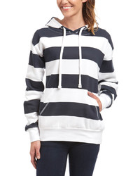 White and Navy Horizontal Striped Hoodie