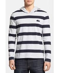 White and Navy Horizontal Striped Hoodie