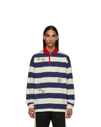 White and Navy Horizontal Striped Polo Neck Sweater