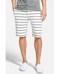 White and Navy Horizontal Striped Shorts