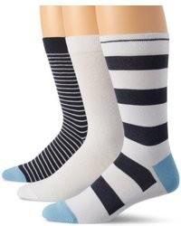 White and Navy Horizontal Striped Socks