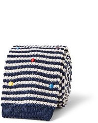 White and Navy Horizontal Striped Tie