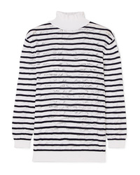 Chloé Striped Cotton Blend Lace Turtleneck Sweater