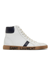 White and Navy Leather High Top Sneakers