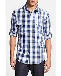 Slim fit plaid sport shirt medium 51355