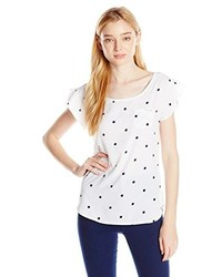 White and Navy Polka Dot Crew-neck T-shirt