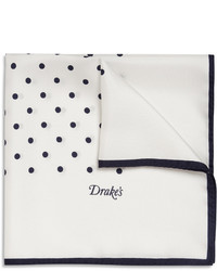 White and Navy Polka Dot Pocket Square