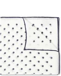 Drakes polka dot linen pocket square medium 454071