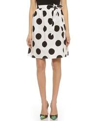 White and Navy Polka Dot Skater Skirt