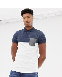 01de371d7 ASOS DESIGN Tall Polo Shirt With Contrast Yoke And Pocket With Roll Sleeve  In Navy